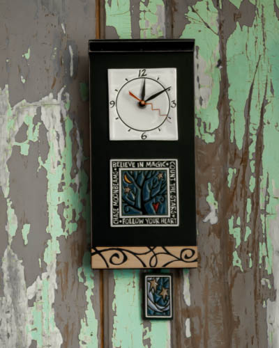 &quot;Believe in Magic&quot;- Black <br /> Pendulum Clock